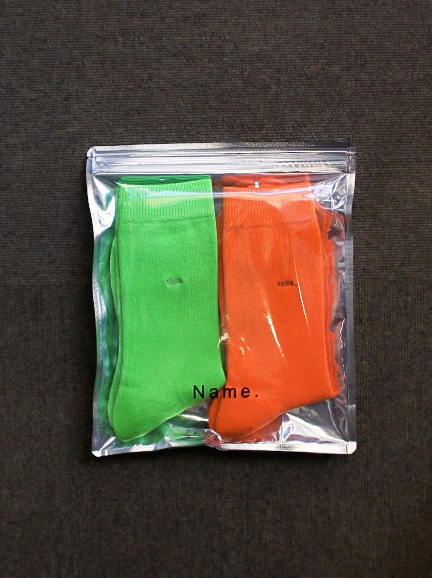 [Name.] 2 Pair Socks - Lime Green & Orange